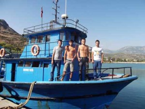 Efe, Mert, Okan and Selim gave me lunch on their boat in Anamur, on the way to Antalya!