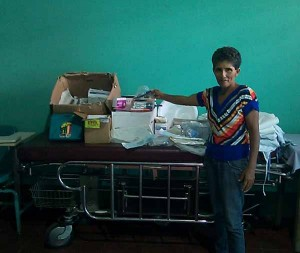 Berta, coordinator of the Clinica Xochil, with some of the supplies they received from Wisconsin Nicaragua Partnership
