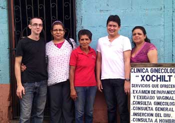 Edilbertha (centre), myself (far left) and the doctors (from left to right) Dra Asevedo (gaenocologist), Dr Millon (paediatrician) and Dra Benavides (psychologist)