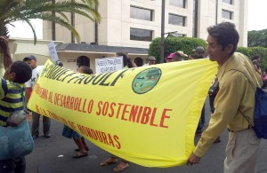 Benjamin de Sedeño holds the banner of CODDEFFAGOLF, the Committee for the Defence and Development of the Flora and Fauna of the Gulf of Fonseca, protesting against the loss of fish stocks, food and livelihoods on the Pacific coast